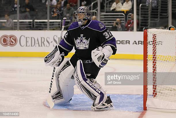 Jonathan Quick of the Los Angeles Kings plays against the Phoenix Coyotes at Staples Center on September 23 2010 in Los Angeles California The...