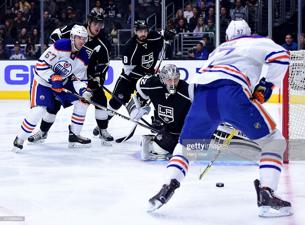 Jonathan Quick #32 of the Los Angeles Kings prepares to make a save on Connor McDavid #97 of the Edmonton Oilers during the first period at Staples Center on February 25, 2016 in Los Angeles, California.