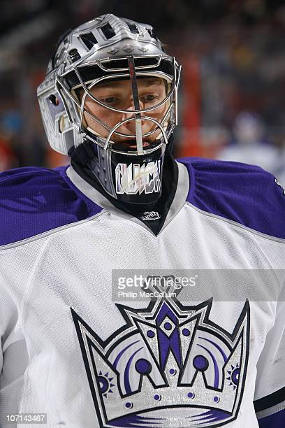 Jonathan Quick of the Los Angeles Kings skates during warmup before a game against the Ottawa Senators at Scotiabank Place on November 22 2010 in...