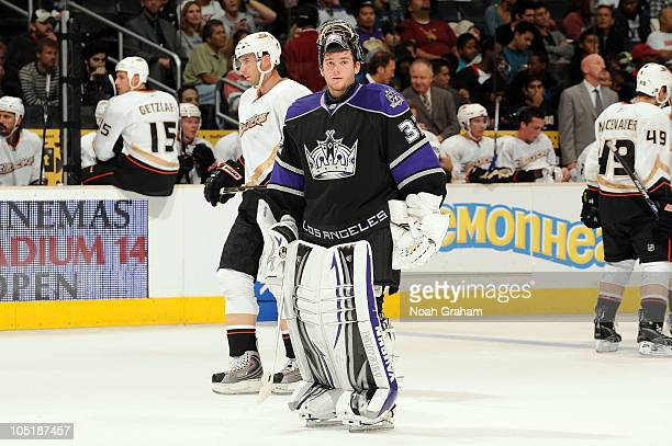 Jonathan Quick of the Los Angeles Kings skates on the ice against the Anaheim Ducks during a preseason game at Staples Center on September 28 2010 in...