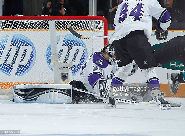 Jonathan Quick of the Los Angeles Kings spreads out to make a save against the San Jose Sharks in Game 5 of the Western Conference Quarterfinals...