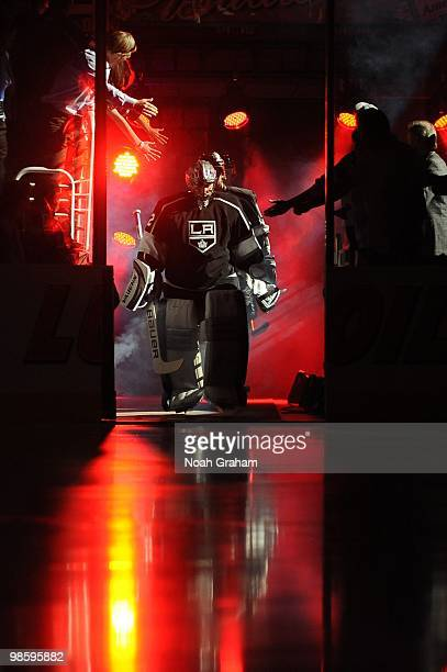 Jonathan Quick of the Los Angeles Kings takes the ice prior to taking on the Vancouver Canucks in Game Three of the Western Conference Quarterfinals...