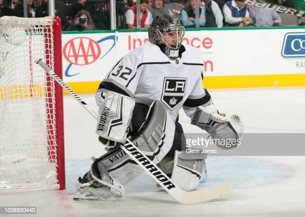 Jonathan Quick of the Los Angeles Kings tends goal against the Dallas Stars at the American Airlines Center on October 23 2018 in Dallas Texas