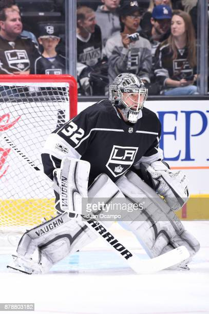 Jonathan Quick of the Los Angeles Kings warms up before a game against the Winnipeg Jets at STAPLES Center on November 22 2017 in Los Angeles...