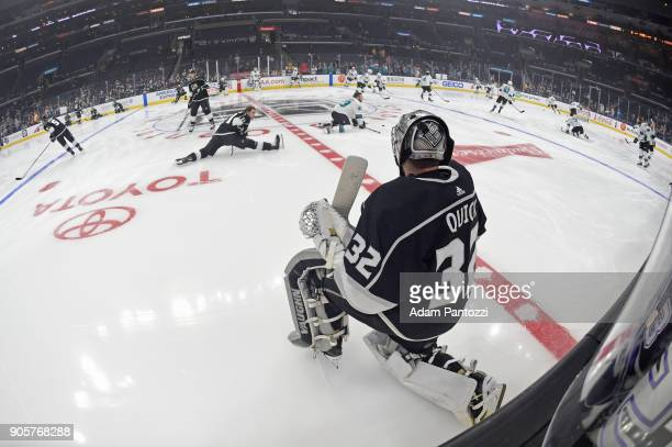 Jonathan Quick of the Los Angeles Kings warms up before a game against the San Jose Sharks at STAPLES Center on January 15 2018 in Los Angeles...