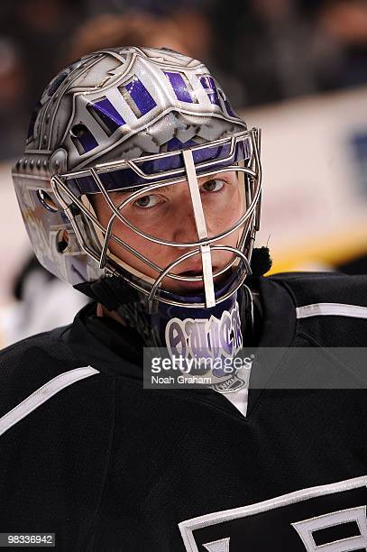 Jonathan Quick of the Los Angeles Kings warms up prior to the game against the Phoenix Coyotes on April 8 2010 at Staples Center in Los Angeles...