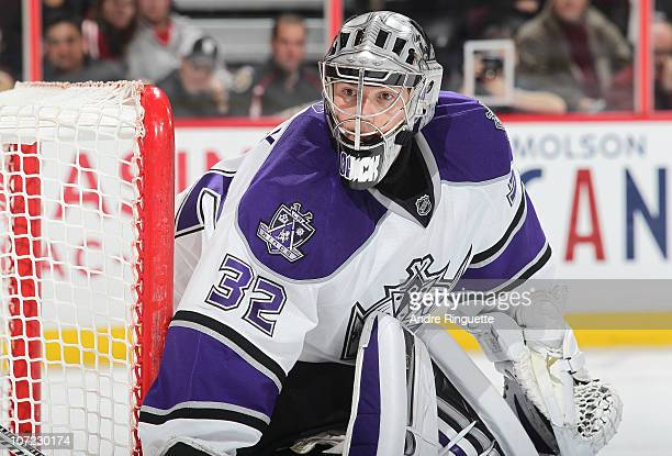 Jonathan Quick of the Los Angeles Kings watches the play against the Ottawa Senators at Scotiabank Place on November 22 2010 in Ottawa Ontario Canada...
