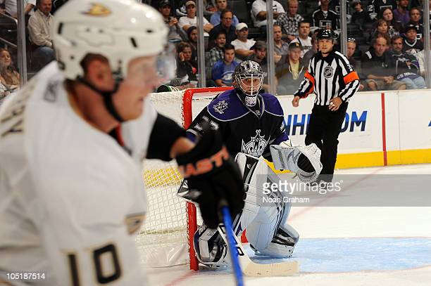 Jonathan Quick of the Los Angeles Kings watches the puck against the Anaheim Ducks during a preseason game at Staples Center on September 28 2010 in...