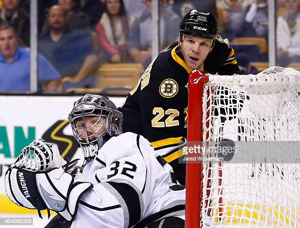 Jonathan Quick of the Los Angeles Kings watches the puck just miss the net on a shot by Shawn Thornton of the Boston Bruins in the first period...