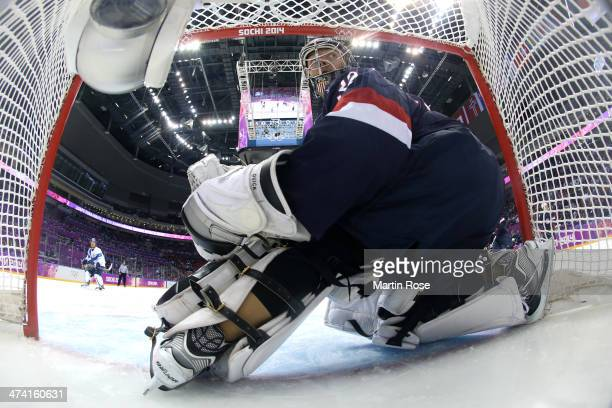 Jonathan Quick of the United States looks back in the first period against Finland during the Men's Ice Hockey Bronze Medal Game on Day 15 of the...