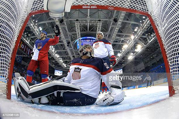 Jonathan Quick of the United States looks on after Ales Hemsky of the Czech Republic scores a goal goal against him in the first period during the...
