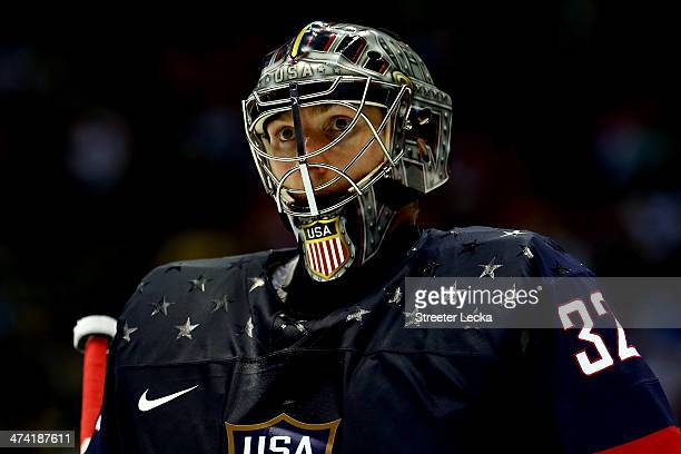 Jonathan Quick of the United States looks on in the third period against Finland during the Men's Ice Hockey Bronze Medal Game on Day 15 of the 2014...