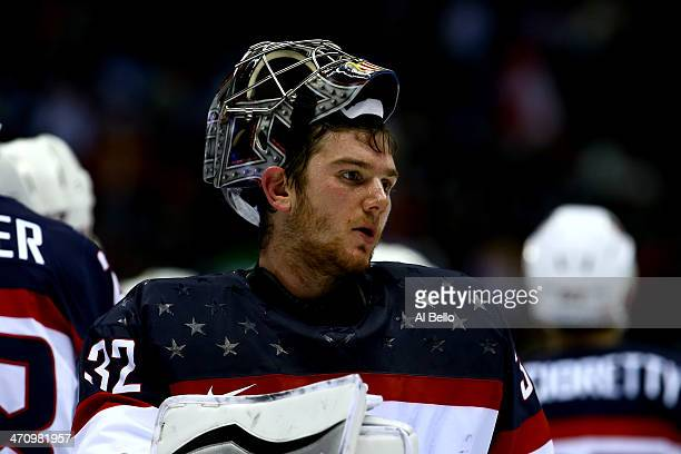 Jonathan Quick of the United States reacts after losing10 to Canada during the Men's Ice Hockey Semifinal Playoff on Day 14 of the 2014 Sochi Winter...