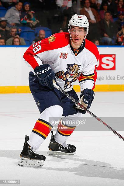 Jonathan Racine of the Florida Panthers, playing in his first NHL game, skates against the New York Islanders at Nassau Veterans Memorial Coliseum on...