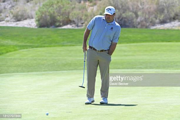 Jonathan Randolph reacts after a putt on the 17th hole during the first round of the MGM Resorts Championship at Paiute at the Las Vegas Paiute Golf...