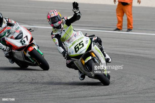 Jonathan Rea of Great Britain and Hanspree Ten Kate Honda celebrates the victory after race two of Round Eight of the Superbike World Championship at...