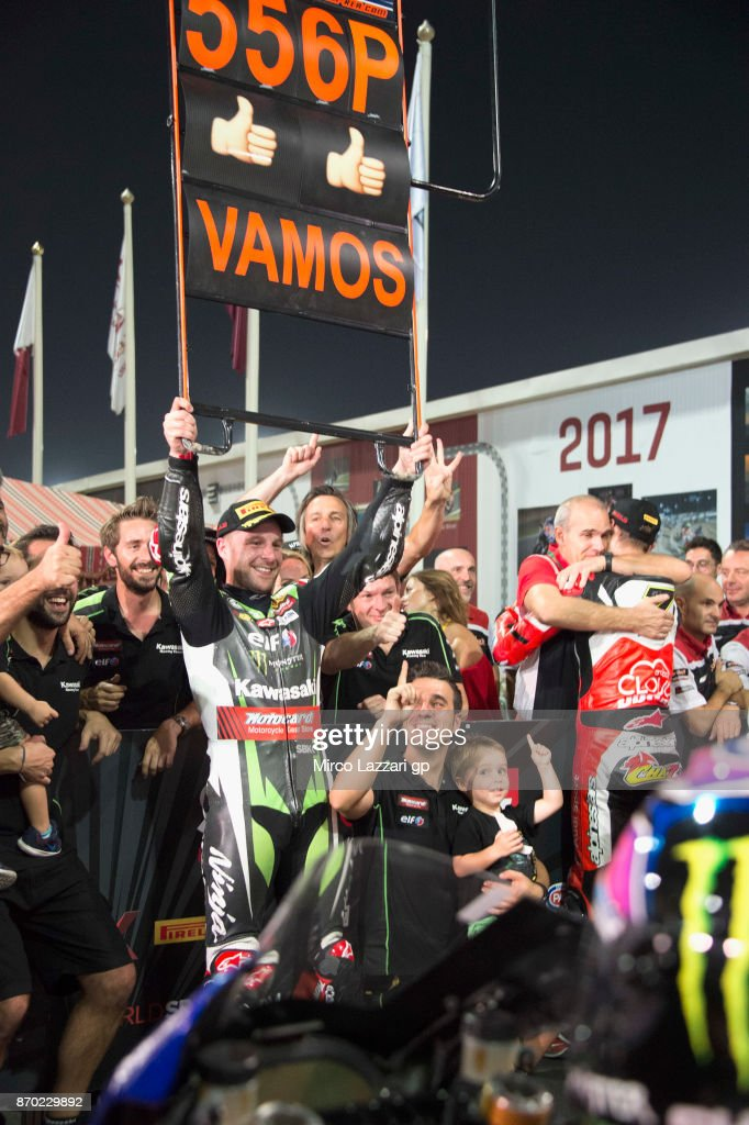 Jonathan Rea of Great Britain and KAWASAKI RACING TEAM celebrates with the team and the family the victory on Superbike championship at the end of the Superbike race 2 during the FIM Superbike World Championship in Qatar - Race 2 at Losail Circuit on November 4, 2017 in Doha, Qatar.