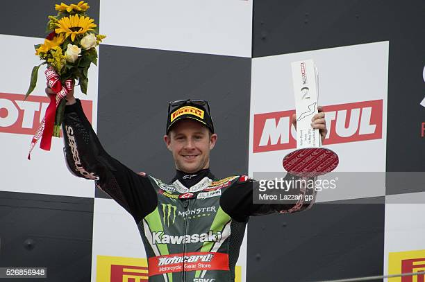 Jonathan Rea of Great Britain and KAWASAKI RACING TEAM celebrates the second place on the podium at the end of the Superbike race 2 during the World...