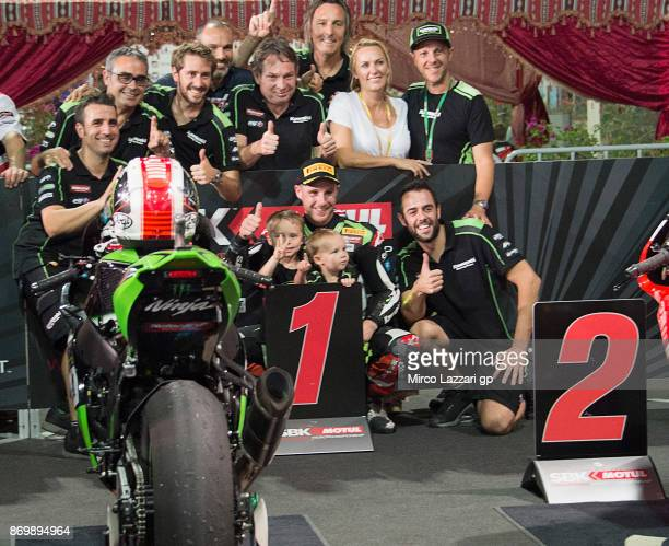 Jonathan Rea of Great Britain and KAWASAKI RACING TEAM celebrates the victory with team and family at the end of the race 1 of FIM Superbike World...