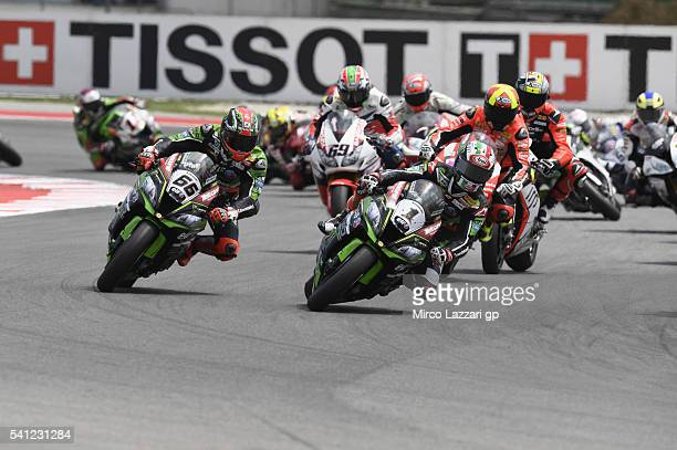 Jonathan Rea of Great Britain and KAWASAKI leads the field during the Race 2 during the FIM Superbike World Championship Race at Misano World Circuit...