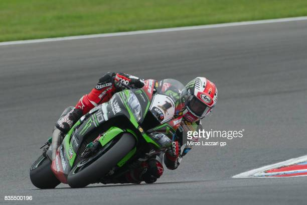 Jonathan Rea of Great Britain and KAWASAKI RACING TEAM rounds the bend before the FIM Superbike World Championship Race 1 at Lausitzring on August 19...