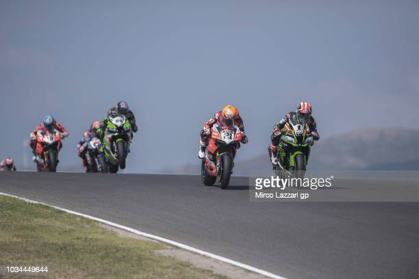 Jonathan Rea of Great Britain and KAWASAKI RACING TEAM WorldSBK leads the field during the Supersbike race 2 during the Motul FIM Superbike World...