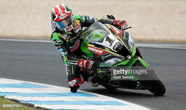 Jonathan Rea of Great Britain and Kawasaki Racing Team WorldSBK rides in the FIM Superbike World Championship Free Practice session ahead of the 2018...