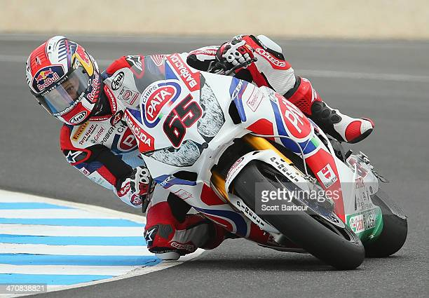Jonathan Rea of Great Britain and Pata Honda World Superbike during practice ahead of round one of the 2014 World Superbike Championship at Phillip...