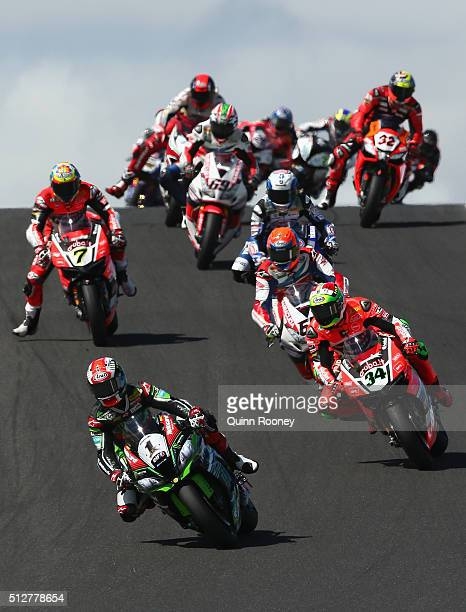 Jonathan Rea of Great Britain leads the field on his Kawasaki Racing Team Kawasaki during race two of round one of the 2016 World Superbike...