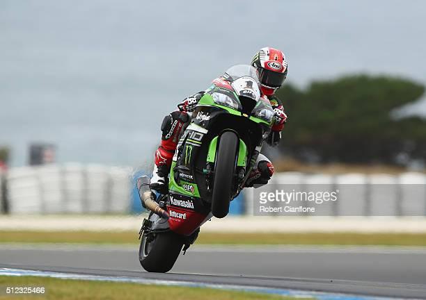 Jonathan Rea of Great Britain rides the Kawasaki Racing Team Kawasaki during practice for round one of the 2016 World Superbike Championship at...