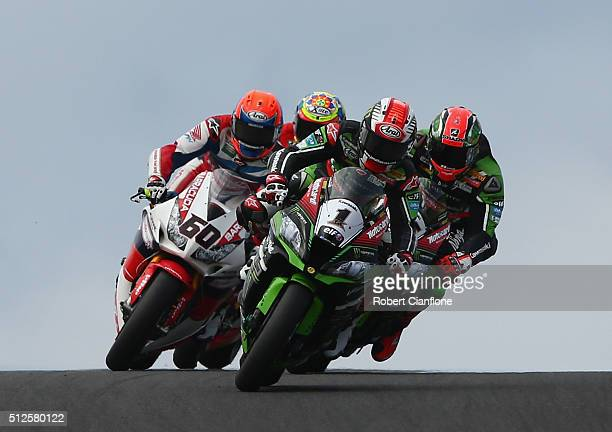 Jonathan Rea of Great Britain rides the Kawasaki Racing Team Kawasaki during race one of round one of the 2016 World Superbike Championship at...