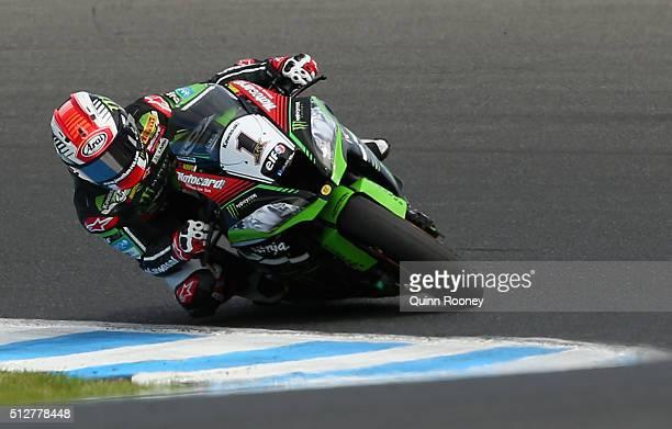 Jonathan Rea of Great Britain rides the Kawasaki Racing Team Kawasaki during race two of round one of the 2016 World Superbike Championship at...