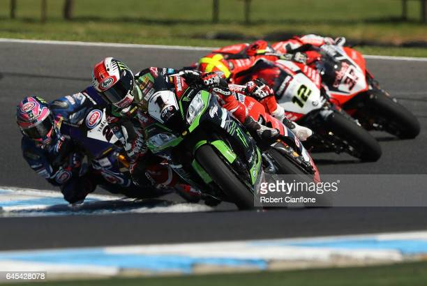 Jonathan Rea of Great Britain rides the Kawasaki Racing Team Kawasaki during race two of round one of the FIM World Superbike Championship at Phillip...