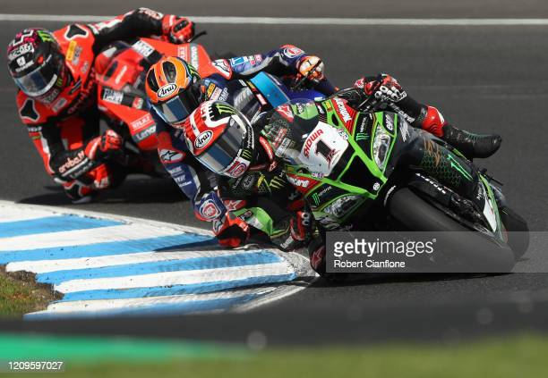 Jonathan Rea of Great Britain rides the Kawasaki Racing Team WorldSBK Kawasaki during race two of round one of the 2020 Superbike World Championship...