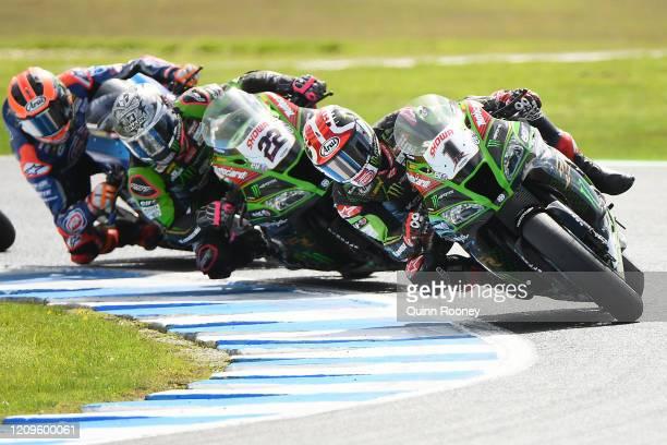 Jonathan Rea of Great Britain riding the Kawasaki Racing Team WorldSBK Kawasaki and Alex Lowes of Great Britain riding the Kawasaki Racing Team...