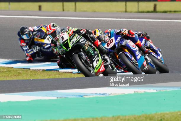 Jonathan Rea of Ireland and Kawasaki Racing Team WorldSBK leads the field during the Superbike race 02 during the 2020 Superbike World Championship...