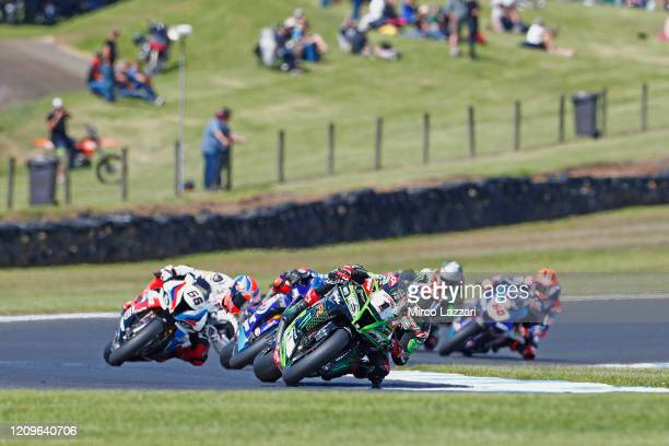Jonathan Rea of Ireland and Kawasaki Racing Team WorldSBK leads the field during the Superbike race 2 during the 2020 Superbike World Championship at...