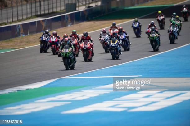 Jonathan Rea of Ireland and Kawasaki Racing Team WorldSBK leads the field during the Superbike race 2 during the WorldSBK Spanish Round - Race 2 at...