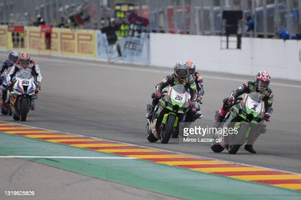 Jonathan Rea of Ireland and Kawasaki Racing Team WorldSBK leads the field during the WorldSBK race 2 during the FIM Superbike World Championship...