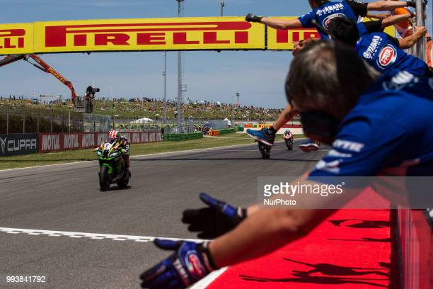 Jonathan Rea of Kawasaki Racing Team complete the double and win race 2 of the Motul FIM Superbike Championship Riviera di Rimini Round at Misano...