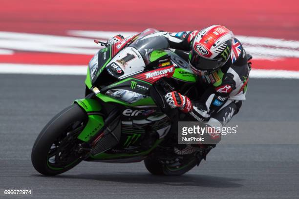 Jonathan Rea of Kawasaki Racing Team mark the first time during the free practice 2 of the Motul FIM Superbike Championship Riviera di Rimini Round...