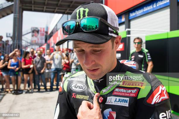 Jonathan Rea of Kawasaki Racing Team mark the second time during the free practice 1 of the Motul FIM Superbike Championship Riviera di Rimini Round...