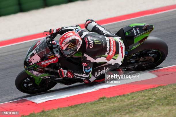 Jonathan Rea of Kawasaki Racing Team mark the second time during the superpole 2 of the Motul FIM Superbike Championship Riviera di Rimini Round at...