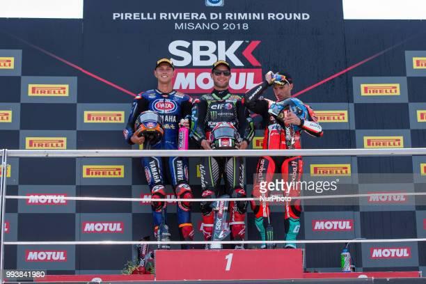 Jonathan Rea of Kawasaki Racing Team Michael Van Der Mark of Pata Yamaha Official WorldSBK Team and Marco Melandri of Arubait Racing Ducati compose...