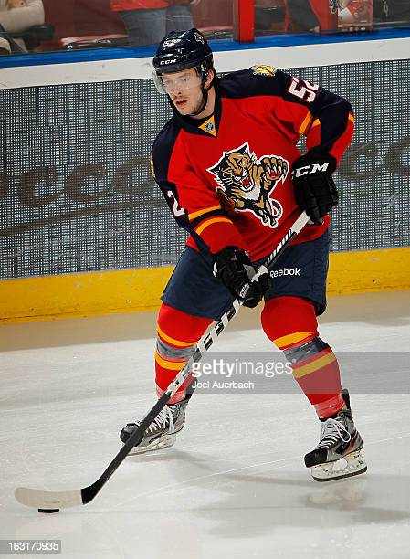 Jonathan Rheault of the Florida Panthers skates prior to the game against the Winnipeg Jets at the BBT Center on March 5 2013 in Sunrise Florida