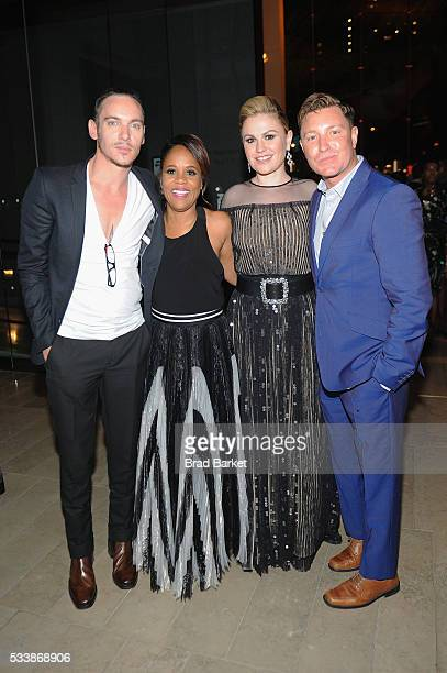Jonathan Rhys Korin Huggins Anna Paquin and Lane Garrison attend the premiere screening of Night One of the four night epic event series Roots hosted...