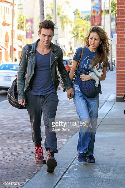 Jonathan Rhys Meyers and fiancee Mara Lane seen on December 02, 2015 in Los Angeles, California.