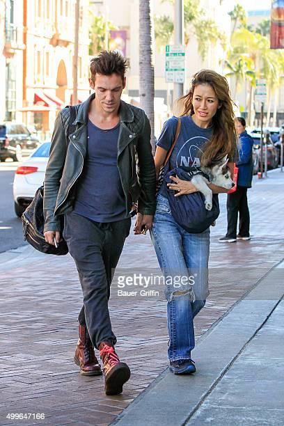 Jonathan Rhys Meyers and fiancee Mara Lane seen on December 02 2015 in Los Angeles California