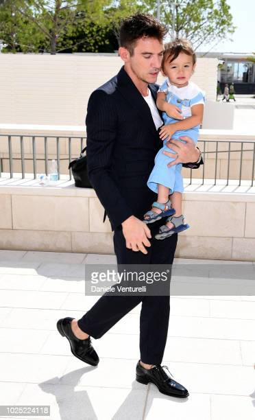 Jonathan Rhys Meyers and his son attend 'The Aspern Papers' photocall during the 75th Venice Film Festival at Sala Casino on August 30 2018 in Venice...