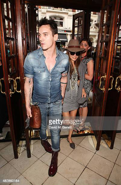 "Jonathan Rhys Meyers and Mara Lane arrive for the press night performance of ""Dear Lupin"" at The Apollo Theatre on August 3, 2015 in London, England."